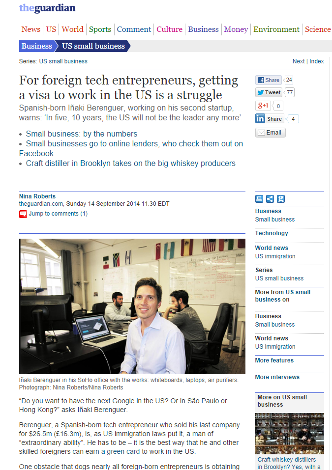 The Guardian Newspaper Discusses The Startup Visa & Mentions Tahmina